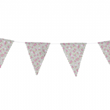 Pink & Green Floral Cotton Bunting